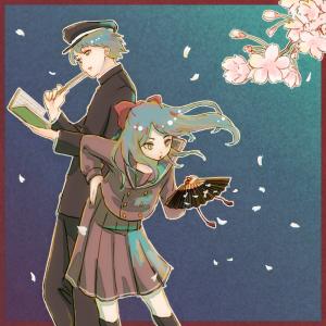 4月お題絵【桜・扇子・高校生】
